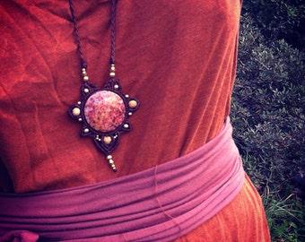 Mandala necklace earth element- flower macrame necklace Chalcedony stone TRIBAL bohemian gipsy jewelry art of goddess