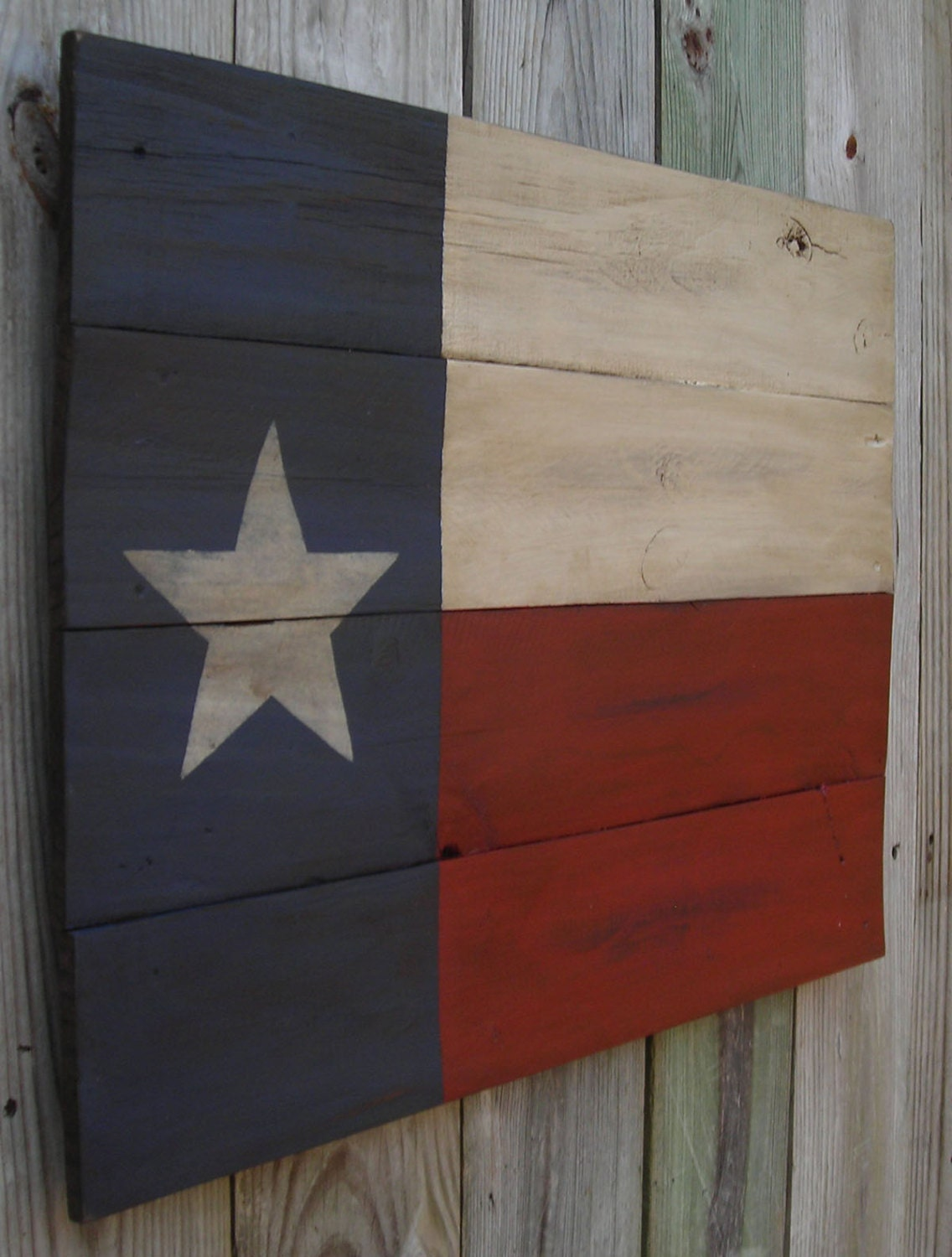 Weathered Aged Rustic Wooden Texas Flag About 22 X 30 Inches