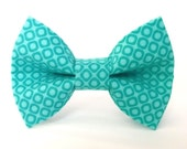 Dog Bow Tie, Dog Bow, Teal Circles (Turquoise, Teal), Removable Accessory for Pet Collar