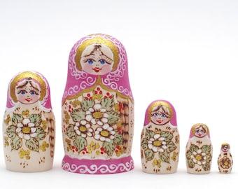 Russian Woodburn  matryoshka babushka russian nesting doll  5 pc Free Shipping plus free gift!