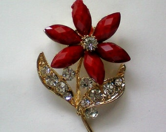 Red Flower with Rhinestone Glitter Pin - 3776