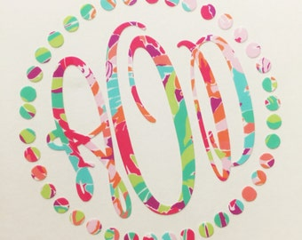"Lilly Pulitzer Inspired Dotted Frame ""Monogram Decal"" NEWEST PRINTS"