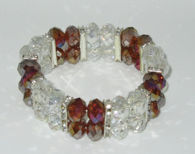 Aurora Borealis Bracelet Glass Beads Czech Rhinestones