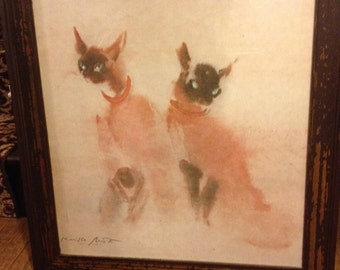 Signed Siamese Cats By Kaiko Moti Offset Lithograph