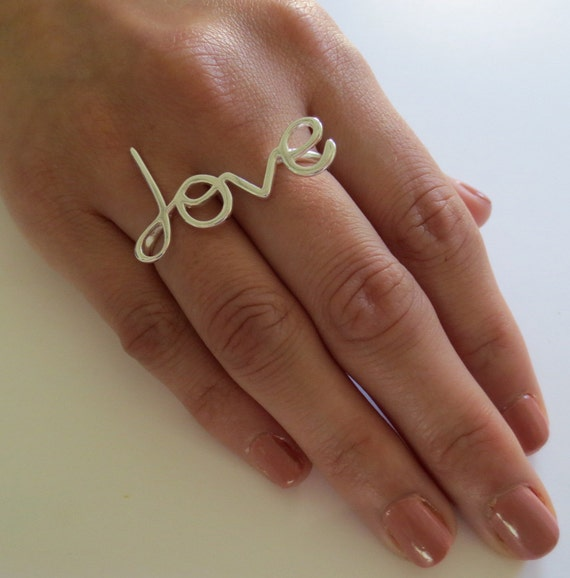 Two Finger Love Ring/Sterling Silver Two Finger Ring/Gold Two Finger Ring/Love Ring/Message Ring