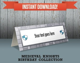 Medieval Knights Party Printable Tent Cards / Place Cards / Food Labels - Editable PDF file - Print at home
