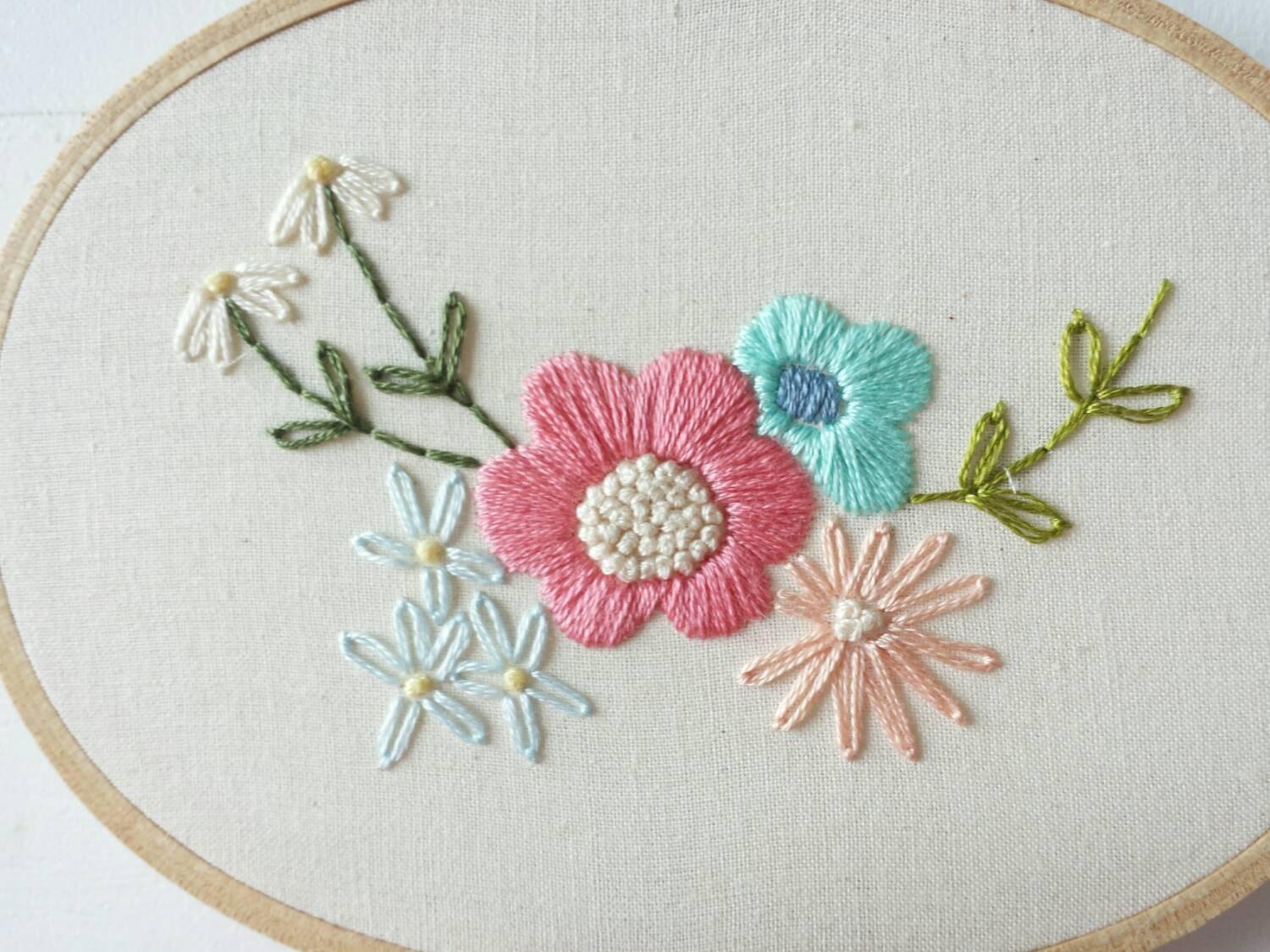 Floral oval embroidery hoop art by cinderandhoney on etsy