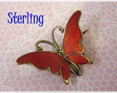 Norway ~ Sterling Silver Guilloche Enamel Red Butterfly Brooch ~ Scandinavian ~ Newport Rhode Island RI Estate Treasure
