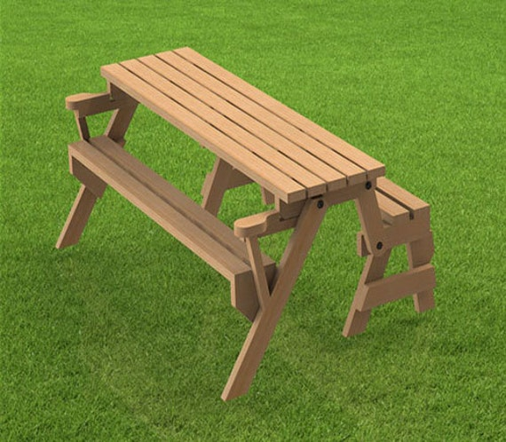 Folding Bench and Picnic Table Combination Woodworking