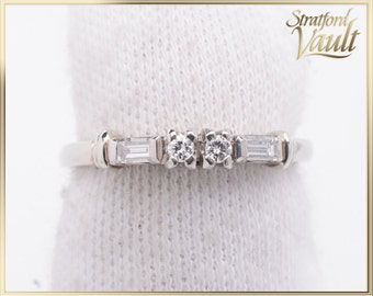 BIRKS ~ Diamond Wedding Band ~ 18K White Gold ~ F/VS1-2 Brilliant Cut Diamonds ~ F/VS1-2 Baguette Cut Diamonds ~ STR17118 ~ GIA ~ 2000.00