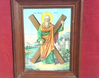Saint Andrew, Religious Wall Hanging, Wooden Framed Icon Print, Christian Orthodox Icon, Greek Religious Art, Christian Wall Decor