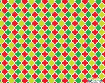 Green red and lime quatrefoil craft  vinyl sheet - HTV or Adhesive Vinyl -  quarterfoil Christmas pattern   HTV1400