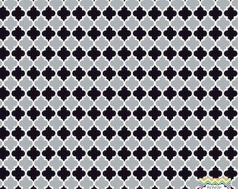 Grey and black quatrefoil craft  vinyl sheet - HTV or Adhesive Vinyl -  quarterfoil pattern   HTV1415