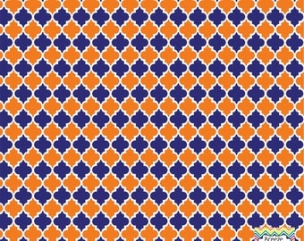 Navy and orange quatrefoil craft  vinyl sheet - HTV or Adhesive Vinyl -  quarterfoil pattern HTV1429