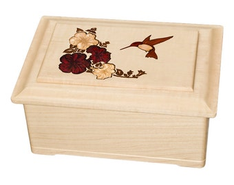 Maple Hummingbird Top Wood Cremation Urn