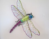 "Dragonfly Wall Hanging Art Decor, Chartreuse & Lavender Velvet, 18"" wide"