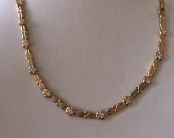 Tri Tone Flower Bracelet 14K Gold