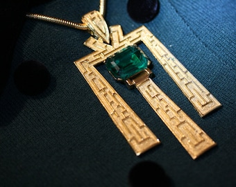 Spectacular Crown Trifari Egyptian Revival Necklace