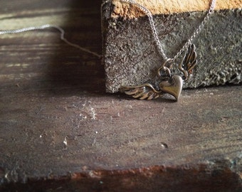 Stevie Nicks Inspired Sterling Silver Wild Heart Tour Necklace, Sterling Silver Heart Pendant Necklace, Winged Heart Pendant Necklace