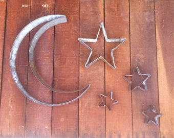 Crescent Moon and/or Star Sculptures From Recycled Wine Barrel Metal Hoop