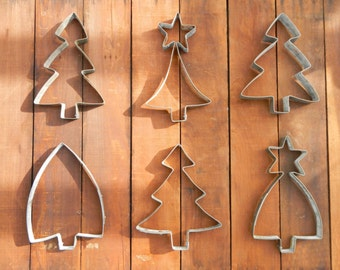 Small Christmas Tree Sculpture | Giant Cookie Cutter | Rustic Decor | Giant Cookie Cutter | From Recycled Wine Barrel Metal Hoop - Small