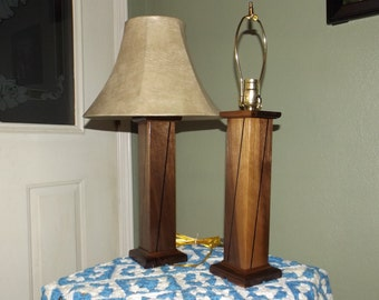 Walnut Table Lamps with Wenge Inlays