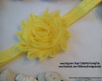 Yellow Shabby Chic Headband, Shabby Head band, Yellow Shabby Chic Headband, Headband, Baby Headband, Chic Headbands, 34 color headbands
