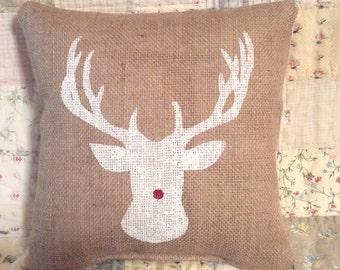 Deerhead Burlap Pillow Cover