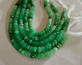 7 to 8 mm  Natural Apple Green Chrysoprase Faceted Rondelle 8 inch Strand-AAA+