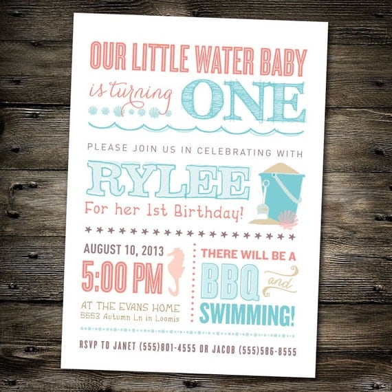 First Birthday Part Invitation: Beach Theme/Pool Party You