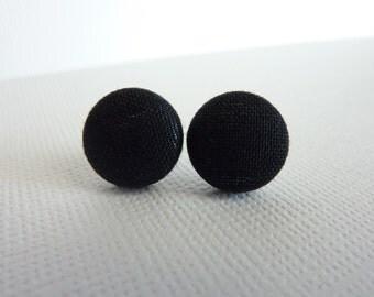 Classic Black Fabric Button Stud Earrings, Simple, Elegant, Tiny, Little, Small Post Earrings, Nickel Free Posts, Black Studs, Minimalist