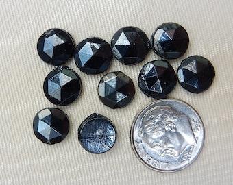Rare 7.75mm Hematite Glass Nailheads from 1920's