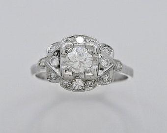 Engagement Ring .45ct. Diamond Platinum Art Deco - J34820