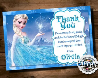 FROZEN Printable THANK YOU card, Custom Frozen Invitation For Girls Birthday Party, Frozen Party, Winter Birthday, Pink Frosting Paperie