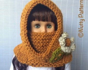 Knitting Pattern * Dakota Hooded Cowl * Instant Download Pattern #474 * baby toddler child teen adult * bulky fast and easy