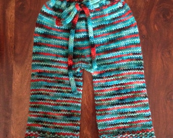 Hand knit wool longies, newborn/x-small size