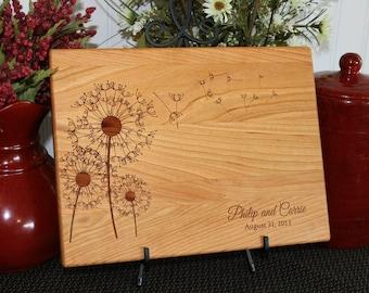 Personalized Custom Cutting Board Dandelions Wedding Anniversary Gift Bridal Shower Gift Housewarming Kitchen Art Home Decor