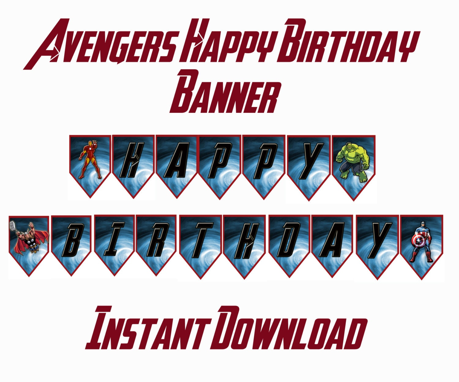 Instant Download Avengers Happy Birthday Banner By