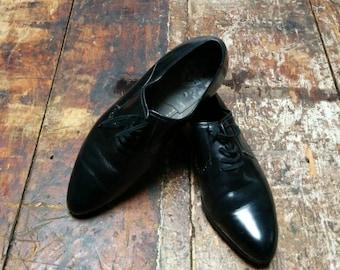 Vintage Italian black leather dress shoes, size 41