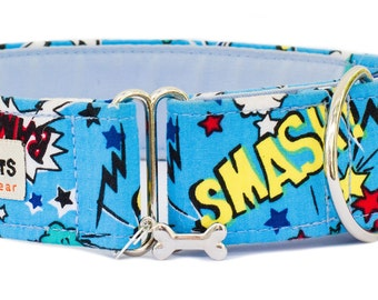 "Noddy & Sweets Adjustable Martingale Collar [1"", 1.5"", 2"" Kapow! Blue]"