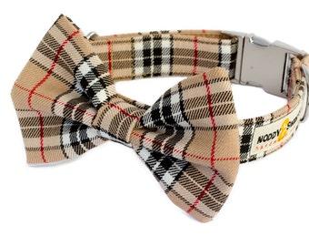 Noddy & Sweets Adjustable Metal Clasp Dog Collar with Bow Tie [Tartan Tan]