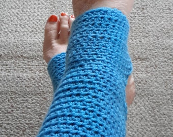 Yoga Socks - Toeless BalletSocks, Pilates, Dance Warmers, Crocheted Turquoise Socks, For Her, Superwash Yarn