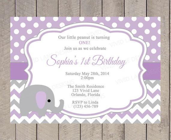 Purple Elephant Birthday Invitation Girl Birthday Purple and – Elephant Birthday Invitations