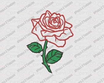 Rose Flower Applique Embroidery Design in 3x3 4x4 5x5 and 6x6 Sizes