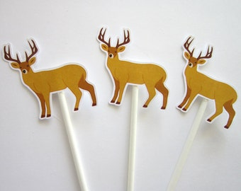 Hunting Birthday Party Cupcake Toppers - Deer Cupcake Toppers