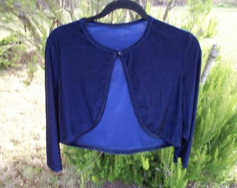 Darling In MIDNIGHT BLUE Velveteen Shrug, Sweet as Honey, Small