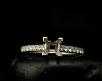 Abby - Engagement Ring Semi-Mount for 5x5.5mm Princess Cut Center in White Gold, Solitaire Setting, Shared Prong Set Diamonds, Free Shipping