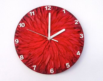 RED WALL CLOCK, Art wall clock, Unique wall clock, Modern Wall Clock, Red Clock