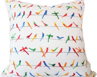 Duralee Colorful Birds Decorative Pillow Cover - Throw Pillow - Toss Pillow - Accent Pillow - Pillow Cushion - Both Sides - 18x18
