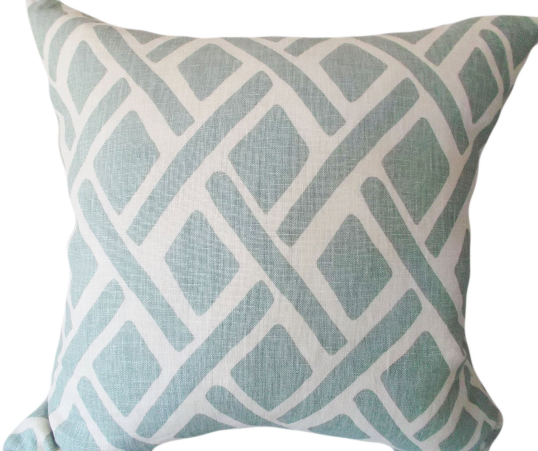 Kravet Blue Trellis Treads Decorative Pillow Cover 18x18